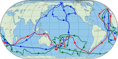 Travel Destinations   Cook's voyages: 1st (Red), 2nd (Green), 3rd (Blue). Dashed blue line crew route after Cook's death