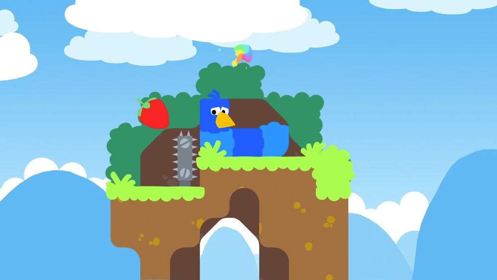 Snakebird is a puzzle game about snakes that are also birds -- this snakebird is blue