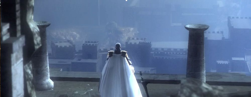 Demon's Souls second to last boss. 1-4 looking over city.