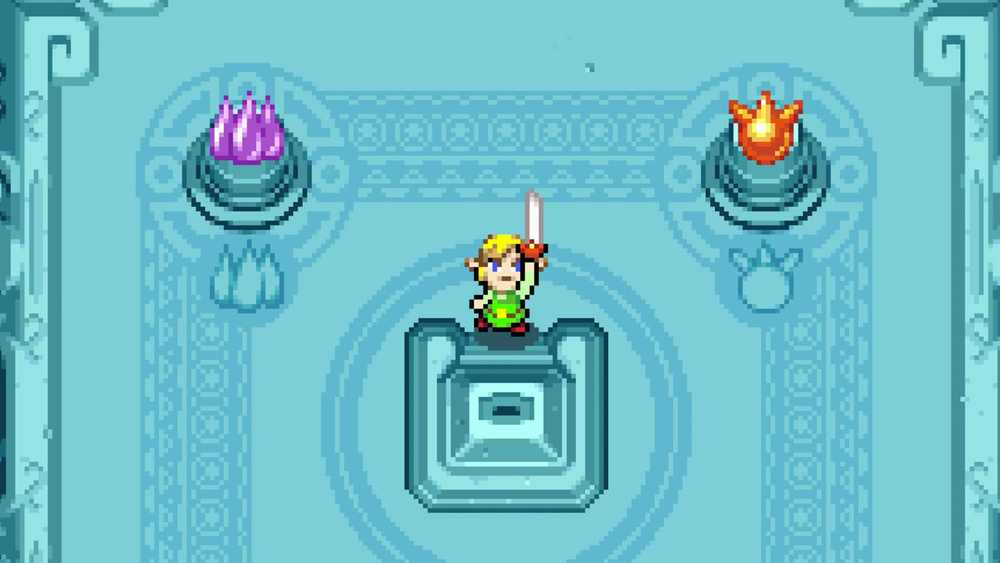 Legend of Zelda: The Minish Cap Wii U and 3DS virtual console release. Link and Master Sword for GBA.