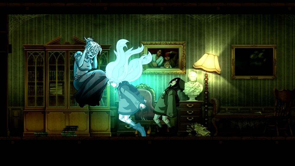 Whisper Willows for PC, PS4, Xbox One, iOS, and Wii U. Spirit form talking to wife.
