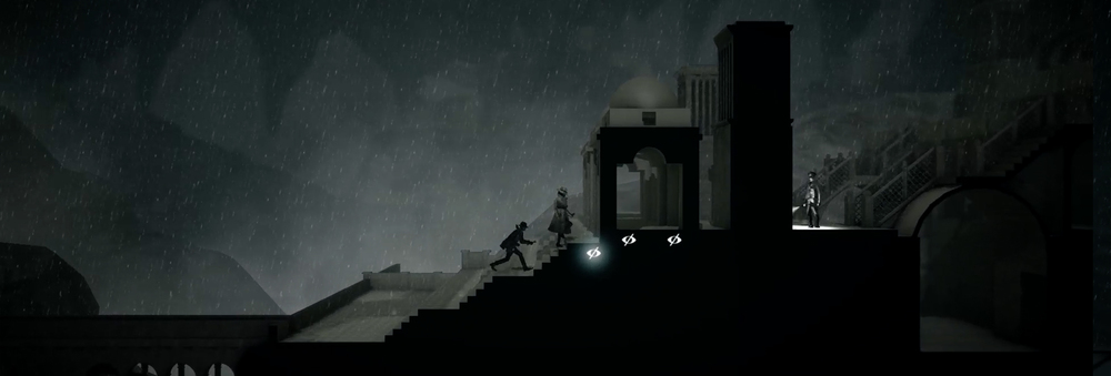 Calvino Noir end of game ascending mountain. 2D stealth for mobile PlayStation 4 and PC