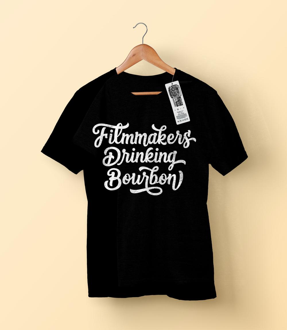 leo gomez studio lettering shirt filmmakers drinking bourbon