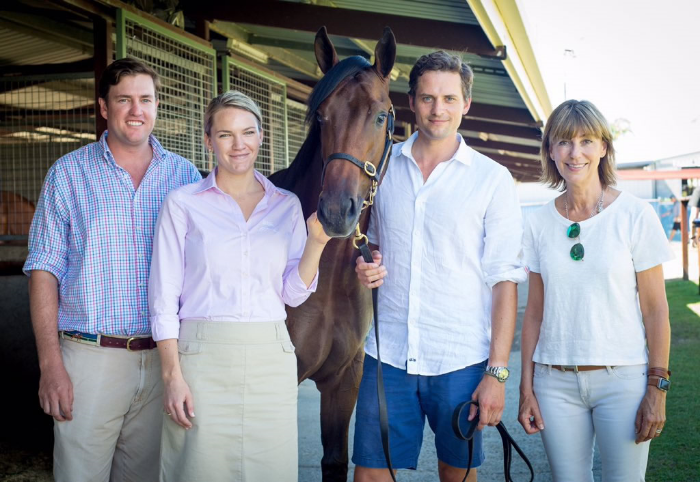 Denman filly with (L-R ) Craig Rounsefell, Lynn Hancock, Matt Cumani and Cathy Hains