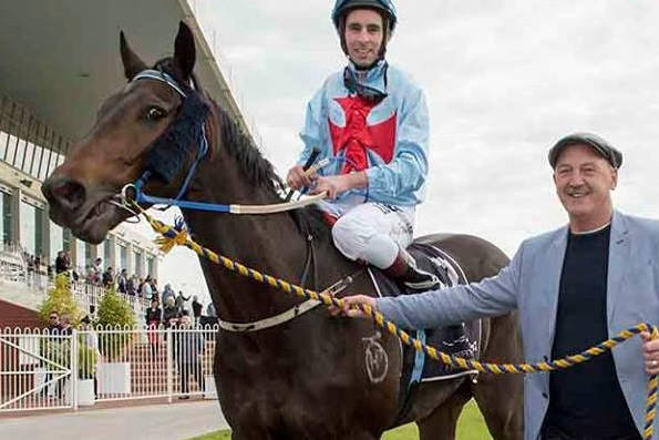 MY GREEK BOY Belmont winner returns to scale with Noel Carter  Photo / Western Racepix