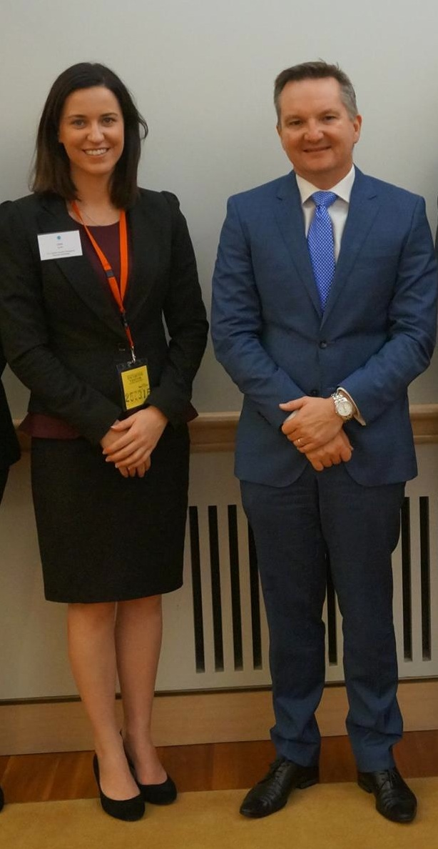 Pictured with Shadow Treasurer, Chris Bowen. Photo courtesy of Global Voices.