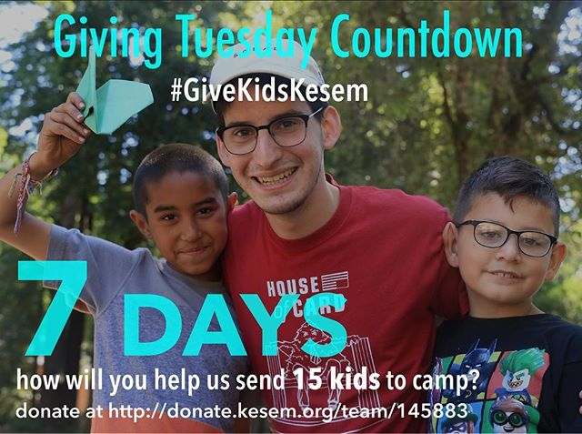 #GivingTuesday is one week from today! Join Camp Kesem in the global movement of a day of giving. Let's raise $15K to send 15 more kids to camp!! How will you help us #GiveKidsKesem?  Some options of ~ways to give~: 1. Share our Facebook posts! 2. Post about your favorite Kesem memory on Tuesday (Nov 28) 3. Donate any amount of money at http://donate.kesem.org/team/145883