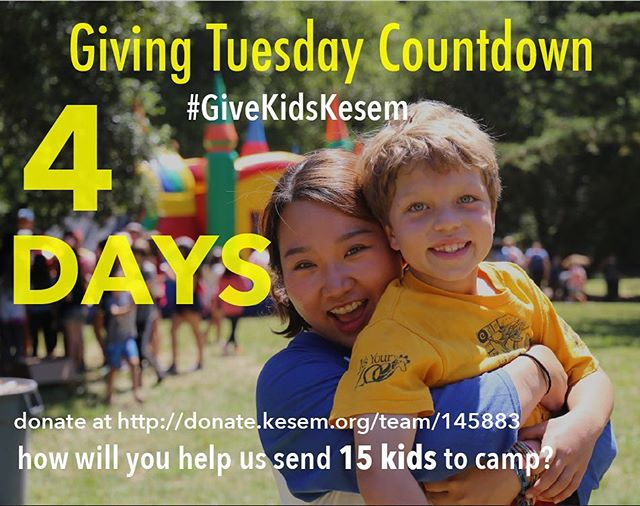 Black Friday. Cyber Monday. Giving Tuesday. Let today's deals fund your donation on Tuesday! Only 4 more days until the largest global day of giving!! How will you help us #GiveKidsKesem?  Our running list of ~ways to give~: 1. Share our Facebook posts! 2. Post your favorite Kesem memory on Tuesday (Nov 28) 3. Donate any amount of money at http://donate.kesem.org/team/145883 4. Call/email/message one person directly about giving to Camp Kesem
