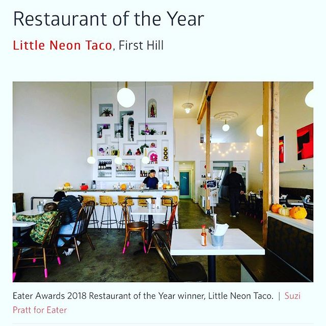 Our sister restaurant @littleneontaco did the damn thing! #eater #restaurantoftheyear #govisit