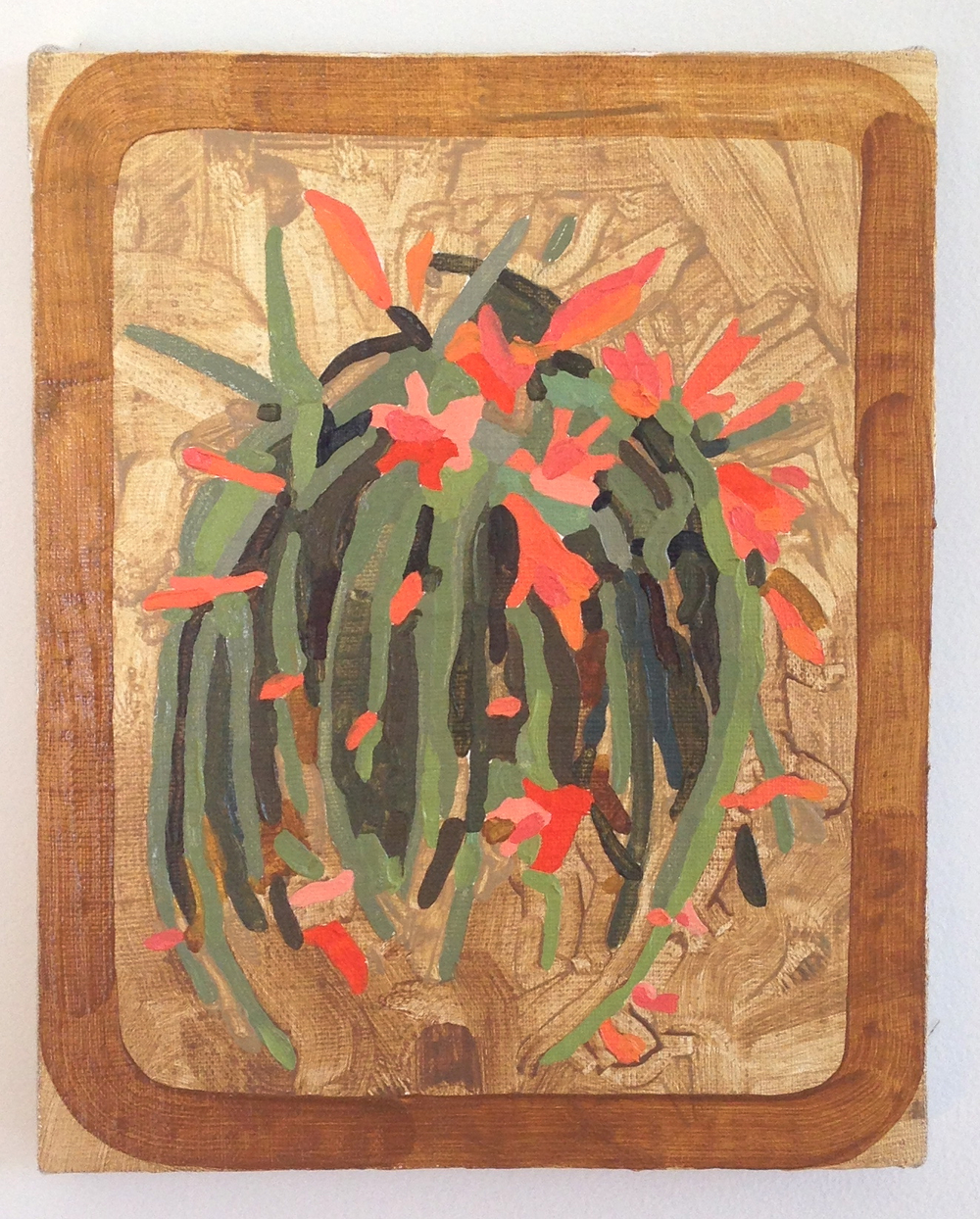 Greenhouse Epi (Firecracker)  10 x 8 inches  oil on khadi  2014