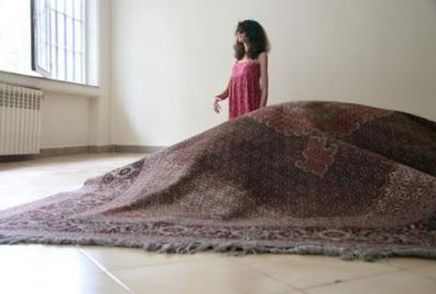 "The Pregnant Carpet, an installation, ""Heaven beneath her feet."""