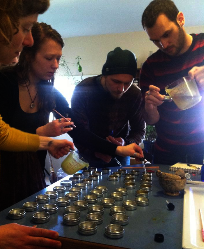 Making herbal first aid kits to gift to the  VBC platemaking community sites.