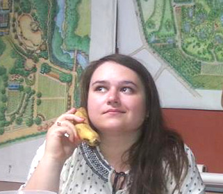 Olga, on her trusty banana-phone.