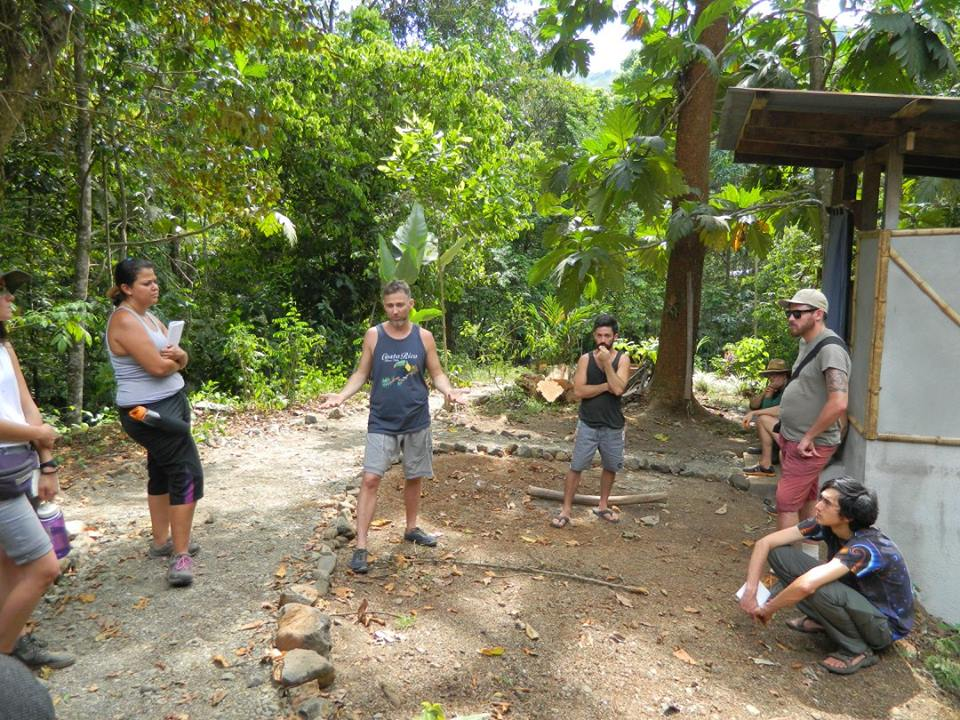Marc, center, teaching a permaculture class in Costa Rica.