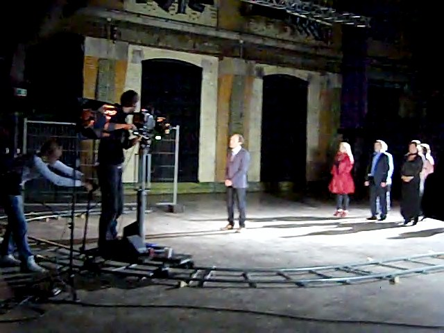 Michelle Whitedove on the set filming the opening sequence for the Sixth Sense International European TV show in Holland.