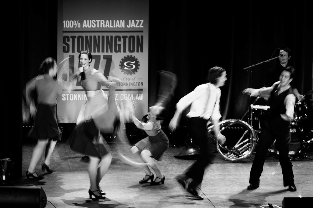 """The  Melbourne Rhythm Project  is what happens when the most talented and passionate Lindy Hop and Tap Dancers meet with a very special band, on stage, in the studio and on the social dance floor. It is a brand new collaboration between Ramona Staffeld and Leigh Barker's six piece band """" The New Sheiks """".  City of Stonnington Jazz Festival     © Francesco Vicenzi Photography"""