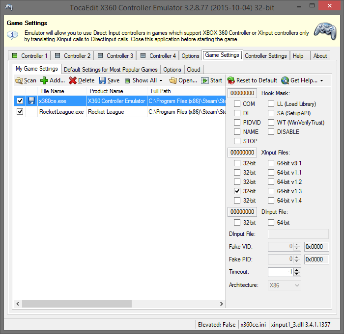X360CE - XBox 360 Controller Emulator for PC — QuadStick