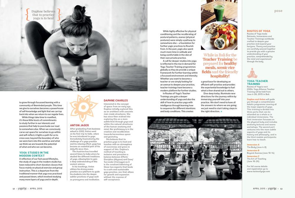 YogaLife Magazine April 2015 Routes of Yoga