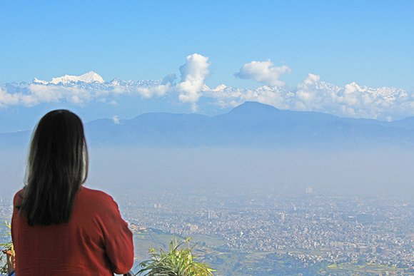 Kathmandu Valley, Nepal, the majestic Himalayan mountains above the clouds