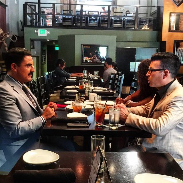 Had a visit from #davidtutera and #rezafarahan at #glendonla to talk about Reza's next big party. #shahsofsunset #wetv #westwood #lunch #bravo