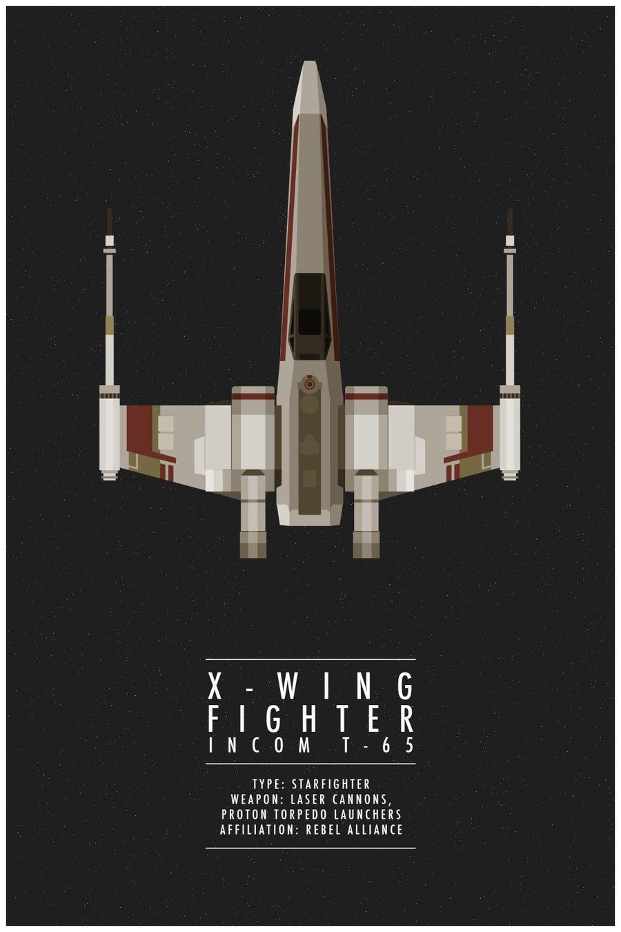 X-Wing Fighter  by * WeaponIX     The simplistic design of this poster is incredibly well done. If you click on the picture you can see a series of different posters that were made in similar style.     Simple and clean are might favorite looks in design.