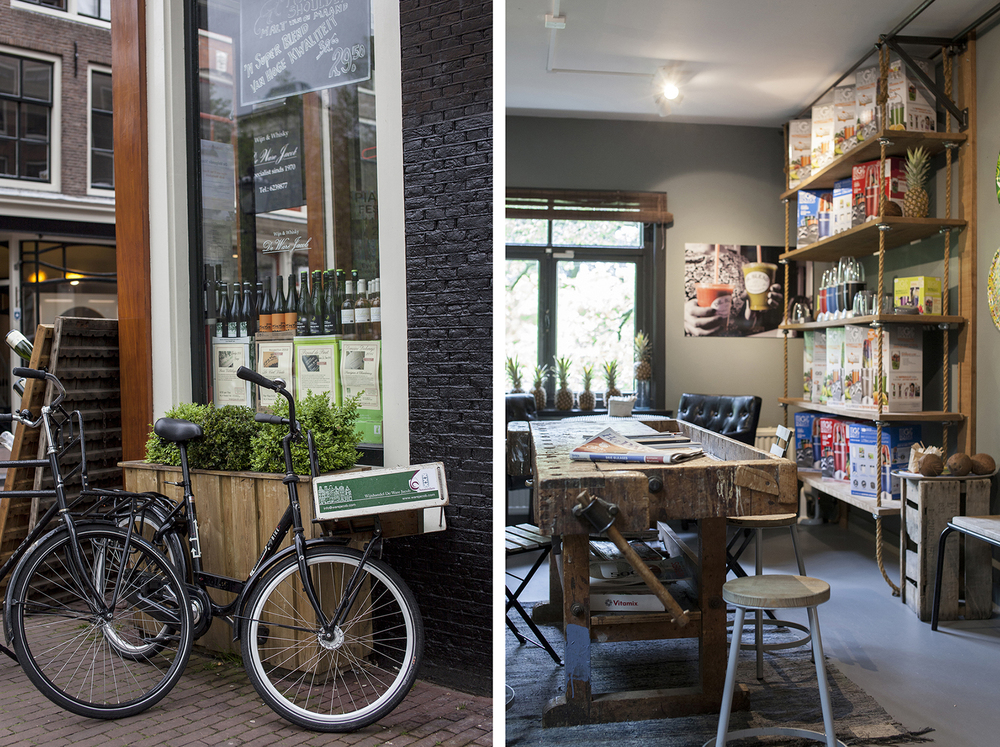 Dr. Blend makes delicious smoothies, juices and salads. And the interior is stunning. Herenstraat 23, Amsterdam.
