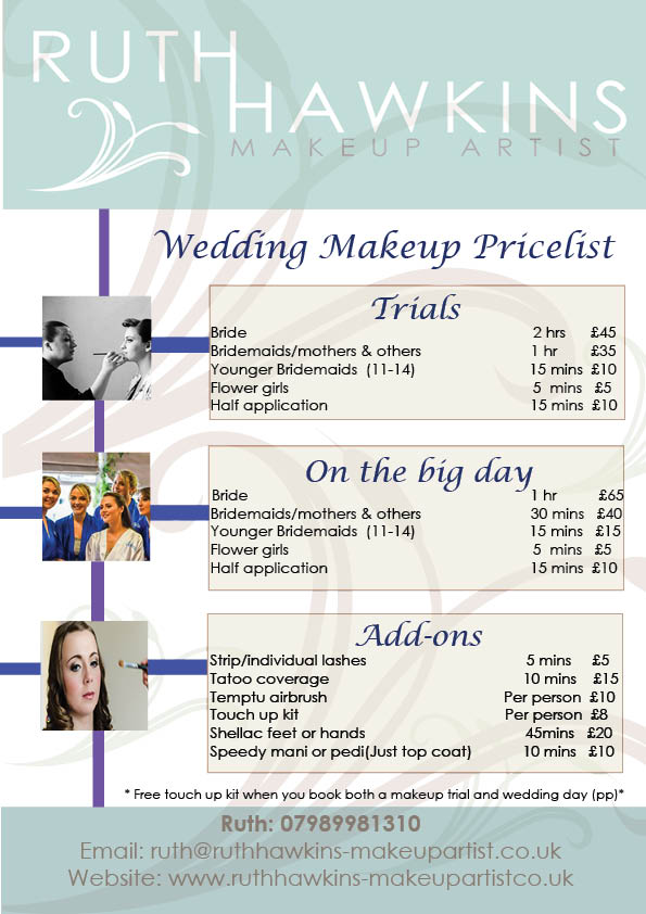 Price List Special Event and Bridal makeup — Ruth Hawkins Makeup Artist - Devon Wedding Makeup Artist Ivybridge, Kinsgbridge, Dartmouth, Totnes, Plymouth
