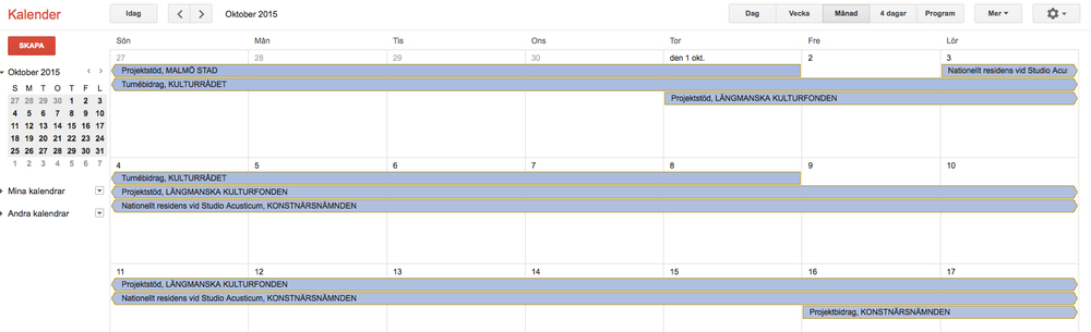 Musikcentrum Syds utvecklade digitalkalender med deadline och kulturstöds information