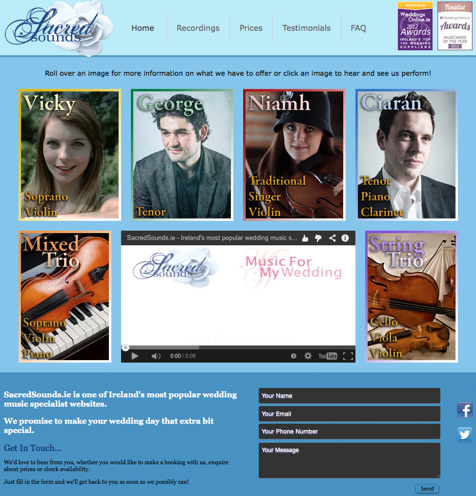 Click here to visit SacredSounds.ie- One of Ireland's most popular wedding music specialist websites.