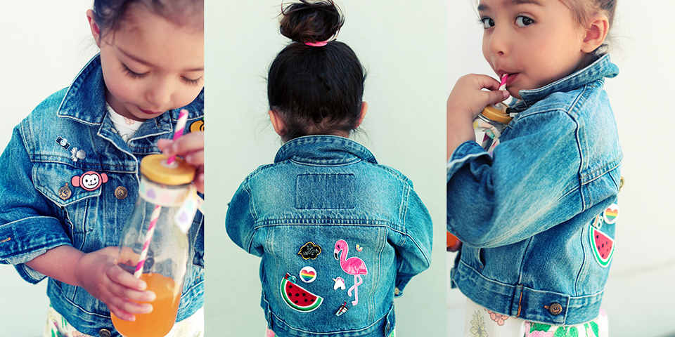 My little lovely Mila is turning out to be quite the fashionista! We had so much fun the other evening sitting on the bed and turning an old hand-me-down denim jacket into a showstopper!  Simply get your badges and pins from  Mr Price  and give new life to a tired denim piece.