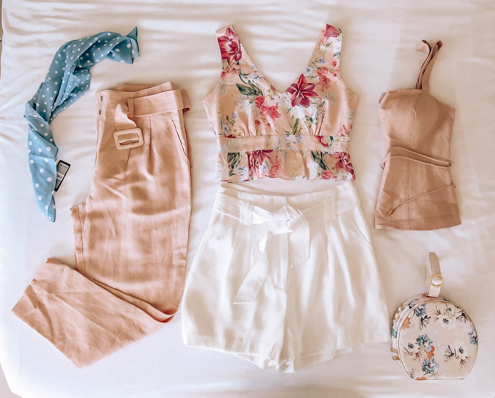 From left:  Scarf ,  High waisted pants  (on SALE)  Floral Tank  (on SALE)  White Shorts  (on SALE)  Blush Bustier  (on SALE) and  Floral Bag