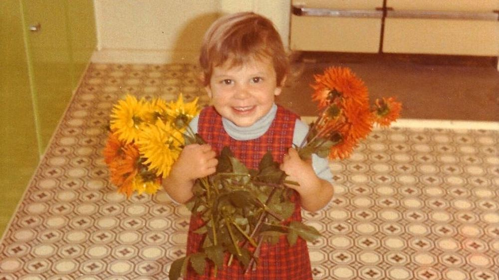 Me and dahlias circa 1979.