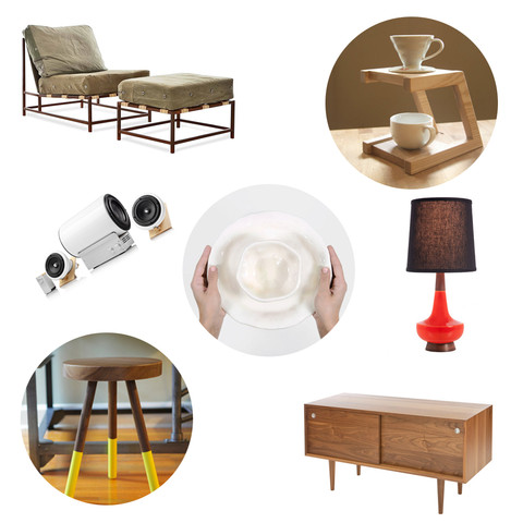 Stephen Kenn Chair  ,   Solid Manufacturing Co. Coffee Stand  ,   Joey Roth Speakers  ,   Caravan Pacific Lamp  ,   Solid Manufacturing stool  ,   Eastvold Furniture credenza