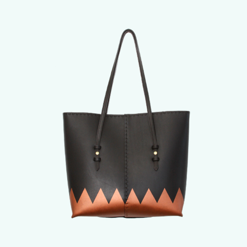 Structured Tote: Black/Copper Toothy