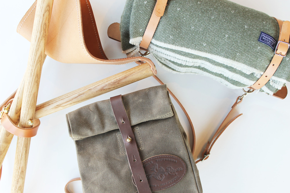 Camp Stool + Frost River Lunch Bag + Blanket Carrier -For the outdoorsy dads. Functional and well-crafted goods for any adventure.