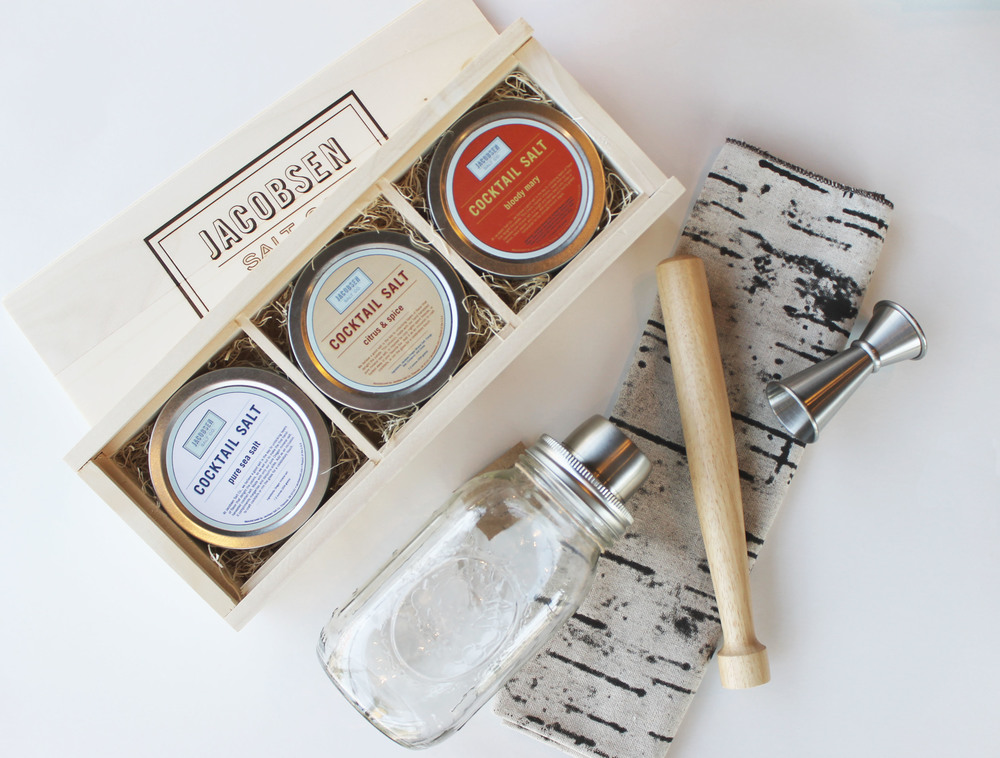 Cocktail Salt Trio  +  Mason Shaker Gift Set  +  Birch Bark Kitchen Towel    -For the cocktail enthusiast dads out there.