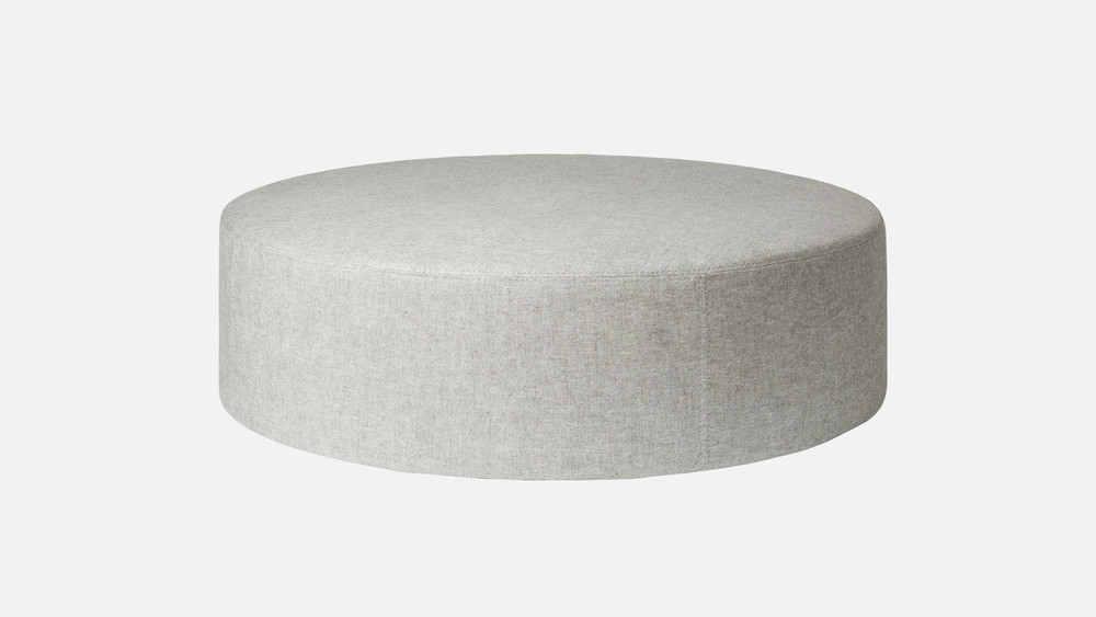 Brick Pouf Round in Light Grey