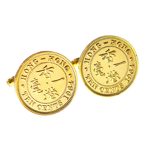 Gold-plated vintage coin cufflinks