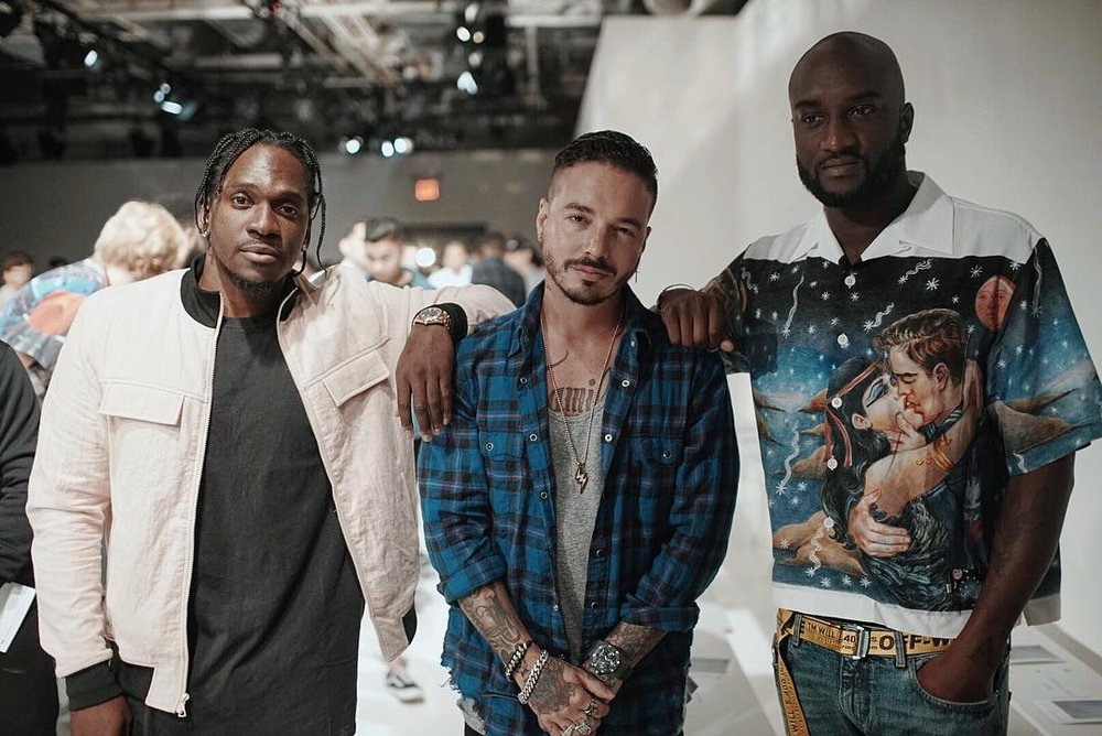 Virgil Abloh(Right) In Prada During The John Elliott S/S 17 Show
