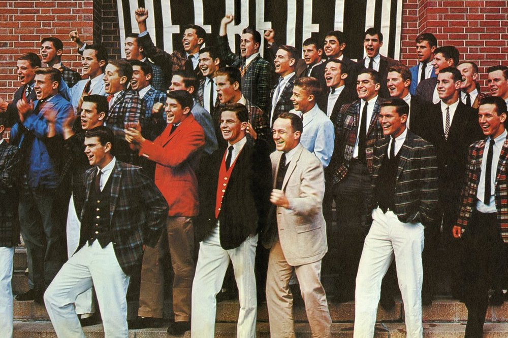 Deerfield Academy Class of 1961     Credit: Vanityfair       After World War II ended, piles of military goods including chino pants flooded back to American and European civilian markets. Chinos soon adopted by youngers from preppies to punks.