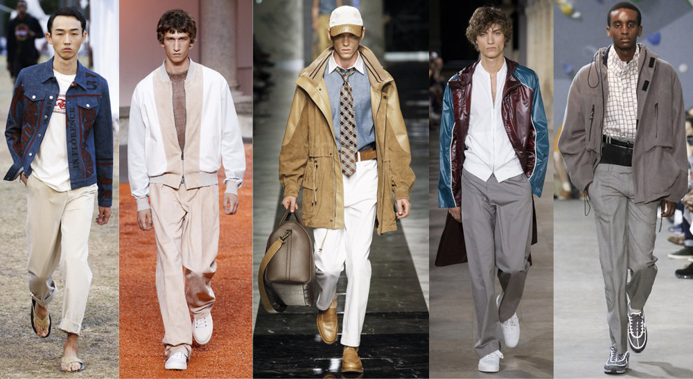 From left to right: J.W Anderson, Ermenegildo Zegna, Fendi, Hermès, and Martine Rose Spring 2018 Menswear Collection    Credit: Vogue