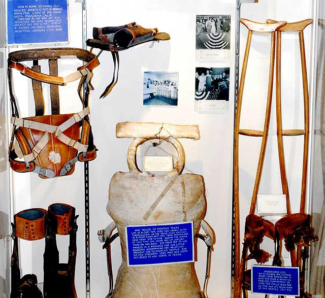These are some of the many crutches and braces that were left behind at Angelus Temple during the time of Sister Aimee currently on display at the Aimee Semple McPherson Parsonage, Los Angeles, CA.