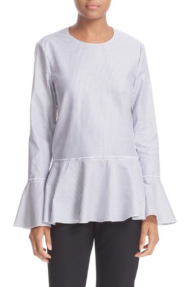 Lexanda Mason Stripe Cotton Peplum Blouse
