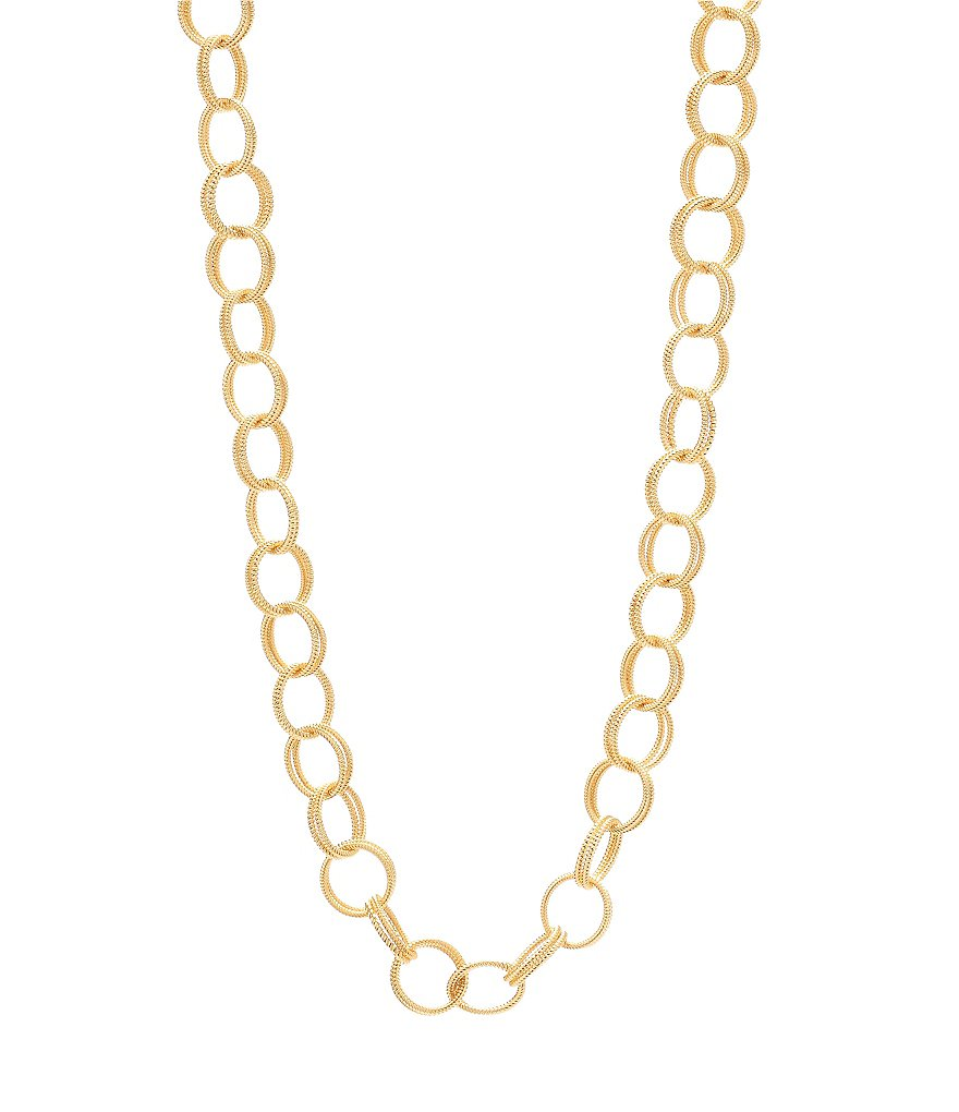 Betsy Johnson Textured Double Link Chain Long Necklace