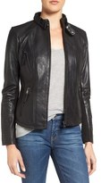 Zip Front Leather Biker Jacket