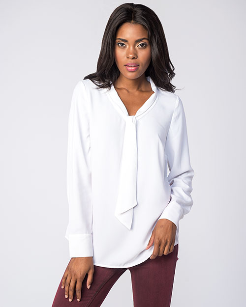 Kensie Luxury Crepe Tie Neck Blouse