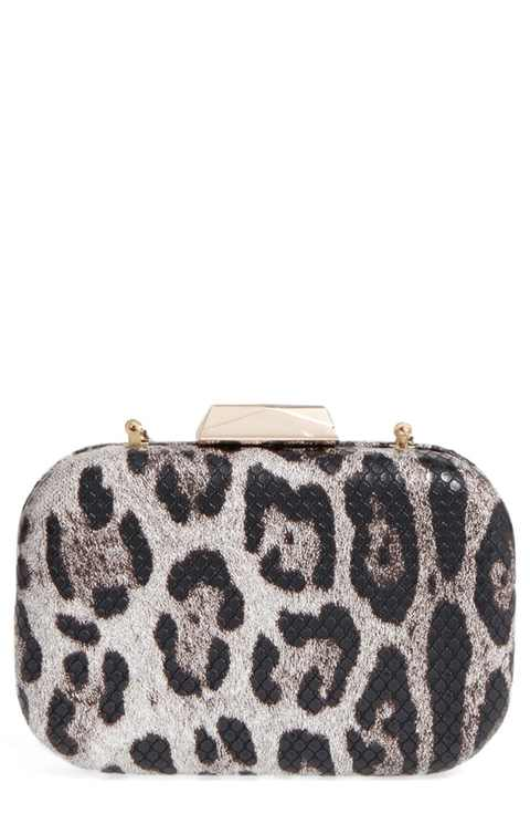 Leopard Print Faux Leather Frame Clutch NATASHA COUTURE