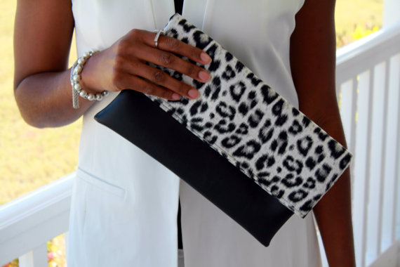 Black and Leopard, Animal Print Clutch, Fold-Over Clutch, Vegan Clutch, Faux Leather Clutch, Leopard Print Clutch, Day To Night  Ask a question