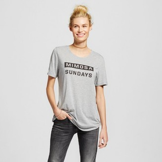 ZOE+LIV WOMEN'S MIMOSA SUNDAYS GRAPHIC TEE HEATHER GRAY