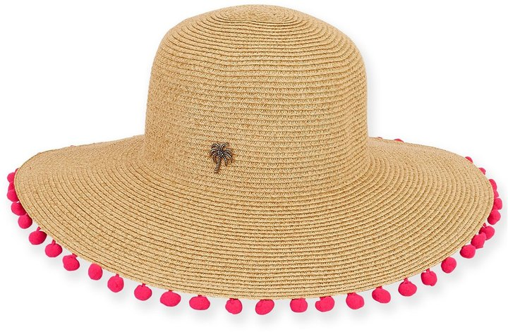 "SUN N SAND WOMEN'S PAPERBRAID 4"" BRIM BEACH HAT W/ DINGLE BALL 8159829  $"